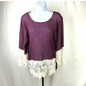 Umgee Top Medium Purple and Cream Lace Trim